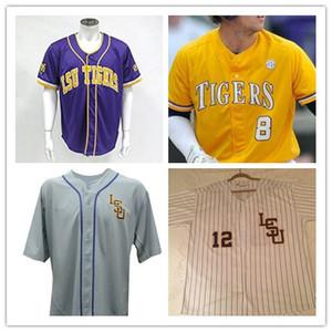 Personalizado S-5XL LSU Tigres Faculdade Beisebol # 8 Alex Bregman Roxo Ouro Branco Amarelo DJ LeMahieu Nola Gausman Costurado Qualquer Nome Número Jerseys