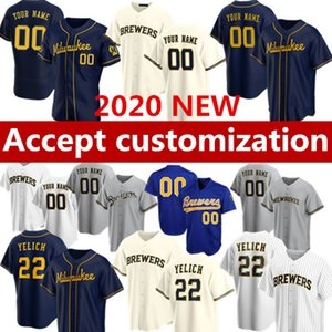 Benutzerdefinierte 2020 Milwaukee Baseball-Trikots 22 Christian Yelich 6 Lorenzo Cain 8 Ryan Braun 18 Keston Hiura 71 Josh Hader Customized jersey