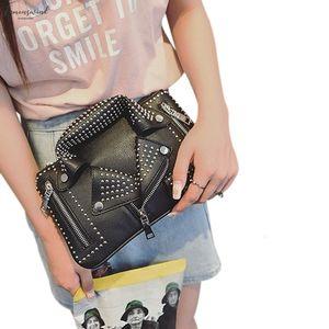 Women Bags Designer Clutch Fashion Rivet Motorcycle Shoulder Bag New Summer Fashion Handbag Crossbody Pu Jacket Bag