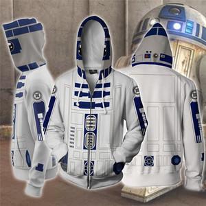 Uniforme sudadera con capucha del robot R2-D2 cosplay de los hombres Streetwear Ropa para hombre de las sudaderas con capucha de la cremallera de los hombres Hoddies