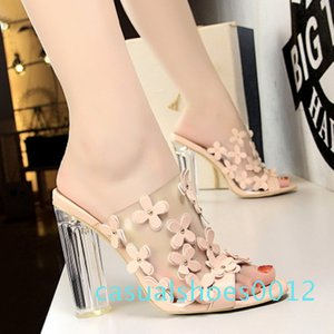 2020 PVC Women Slippers Fashion Sexy High Heeled 9.5CM Women Sandals Clear Heels Open Toe Mules Transparent Female Party Shoes c12