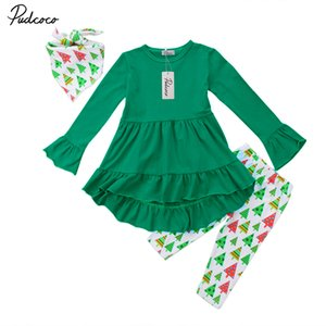 3PCS Xmas Kids Baby Girl Outfit Clothes Long Sleeve Green Red Dress Tops+Christmas Tree Long Pants 3pcs Girls Clothes Set