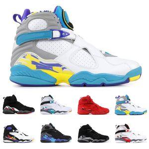 2019 Hommes Chaussures De Basketball 8s Bugs Réfléchissants Lapin Saint Valentin Aqua SOUTH BEACH 8 Chrome 3PEAT PLAYOFF entraîneur Sports Sneaker Taille 7-13