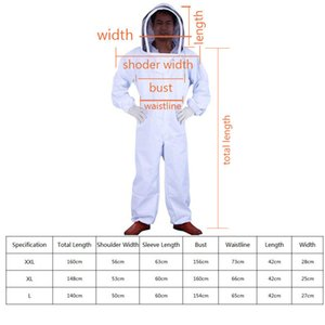 1 Set Professional Ventilé Full Body Apiculture Bee Costume Tenue w / Gants en cuir Costume Bee pour Apiculteur