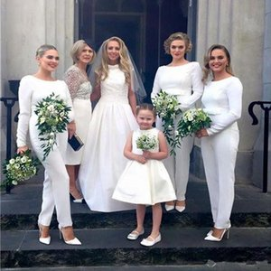 2019 Plus Size White Satin Jumpsuit Abiti da damigella maniche lunghe Fiocco anteriore Festa di nozze Nuziale ospite Maid Onore dell'abito Abbigliamento da sera