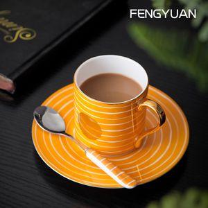 Irregular striped coffee cup set high-end home-style European coffee Mug saucer hand-drawn gold dot bone china