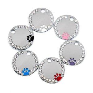 100Pcs Strass Kreis P-Aw Gravierte Id Dog Tag Edelstahl Diy Erkennungsmarken im Pet Shop für-Hund (Farbmischung)