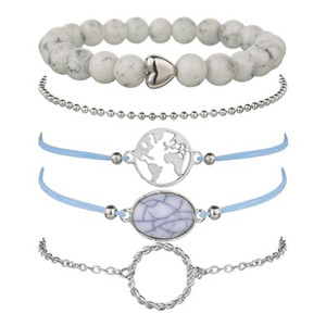 5 Pcs  Set Bohemian charm bead Bracelet Women tassel Bangles gold heart Bracelets Sets Jewelry Party Gifts BB80