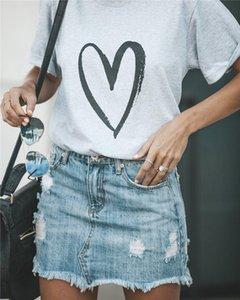 Herz-Liebe-Druck-Frau-T-Shirt Designer Sommer-Kurzschluss-Hülsen-Magliette loses Tuch Art und Weise beiläufige Donna Tees