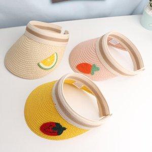 Sevimli Meyve Yaz Top Hat Açık Çocuk Hasır Şapka Big Geniş Çipura Güneş Kız Erkek Panama Beach Cap gorros boşaltın