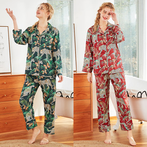 Frauen Langarm-Pyjamas langärmlige Frauen-Satin-Pyjamas Emulation Silk Nachtwäsche Set weibliche Druck Nightgown