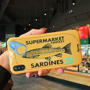 Coquille de téléphone portable Creative Sardine Conserve Mobile Shell Brillant XR Tout Compris Soft Shell iPhoneXSmax Silicone Drop Protector