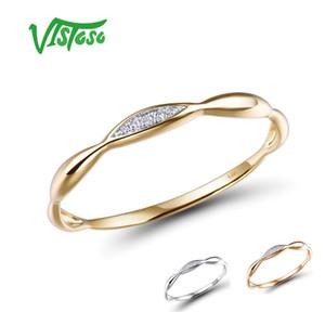 Vistoso anelli d'oro per l'oro genuino delle donne 14K giallo / bianco lucente anello di diamanti promessa anelli di fidanzamento anniversario Fine Jewelry LY191217
