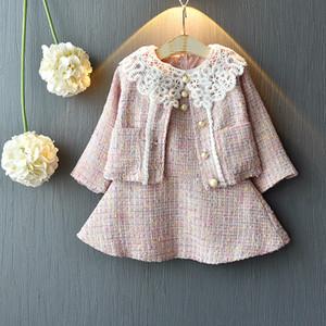 2шт / компл девушки Маленькие Ароматные младенца Tweed Lady платье платье жилет юбка + кардиган детский конструктор костюмы бутик одежды