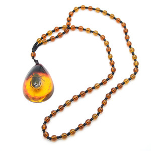 brazilian natural beetle insect golden scorpion amber pendant necklace jewelry gifts for women men beautiful necklaces pendants supplies