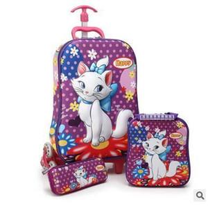3D Kids Rolling School Bags For Girls Trolley Maleta Niños Travel Suitcase School Mochila Kid's Trolley Bags With Wheels J190522