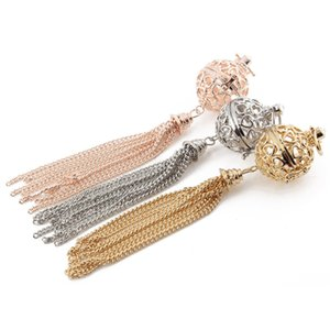 Trendy Alloy Ball Shaped and tassel Aromatherapy Essential Oils Perfume Diffuser Locket Pendant For Jewelry Making DIY