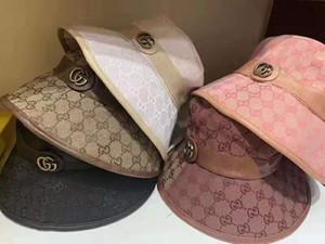 Luxo clássicos Carta cinto Balde chapéus cor da barra dobro tomou chapéu de alta qualidade clássico preto Branco Homens e mulheres sunhat viagem dos Pescadores