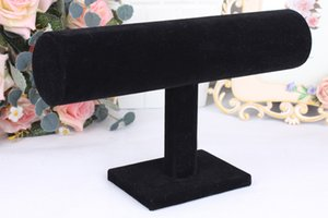 Black Velvet Leather T Bar Jewelry Rack Organizer Hard Stand Holder for Bracelet Chain Necklace Watch Fashion Jewelry Display
