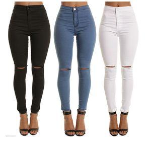 Elastische Kraft Jeans Skinny Knie Loch-Bleistift-Hosen Damen-Hosen Bekleidung Dialy Wear Kleidung Hohe Qualität 30myc H1
