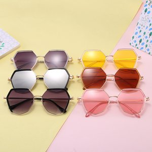 Fashion Kids Polygon Sunglasses Hexagonal Geometric Square Vintage Metal Frame Retro Shade Glasses Girls Boys Anti UV Eyewear
