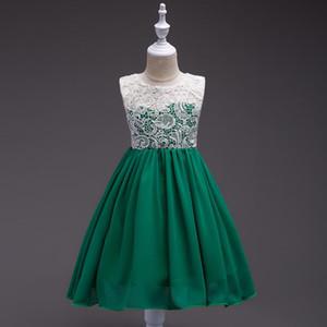 La ropa del partido de la princesa del vestido floral de las muchachas del vestido verano de los niños cumpleaños de la boda kidDress Tutu 3-12 a la niña de ropa E200124