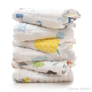 Cotton six-layer gauze square towel baby print small towel infant child saliva towel small handkerchief