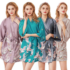Grúas mujeres del diseño de satén de seda de los trajes de la ropa de noche de la ropa interior media manga del verano del vendaje mini vestido de los trajes de Albornoz Señora noche del vestido de túnica