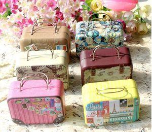 1Pc 7.5*5.5*3.5cm Europe Style Vintage Suitcase Shape Candy Storage Box Wedding Favor Tin Box Sundries Organizer Container
