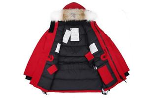Lusso Giacca Canada inverno del progettista del Mens parka Tuta sportiva Big pelliccia con cappuccio Canada piumino Big Pelliccia Hiver Doudoune formato S-XXL