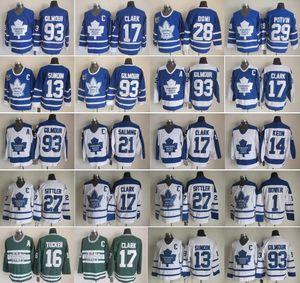 Toronto Ahornblätter 27 Darryl Sittler Jerseys 17 Wendel Clark Mats Sundin Doug Gilmour Krawatte Domi Darcy Tim Horton Dave Keon Vintage Hockey