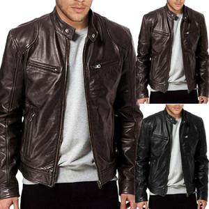 Нового прибытие Мужской моды Pu Leather Jacket Black Brown Slim Fit Biker Jacket Мода Твердых пальто Сжатой кожа Прохладный Jacket