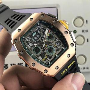 Alta versione RM 11-03RG Big Data Flyback Chrono manopola di scheletro cassa in oro rosa Miyota automatico RM11-03 Mens Watch cinturino in gomma Orologi sportivi