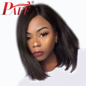 PAFF 13* 6 Lace Front Straight Human Hair Wigs Natural Color Side Part Remy Brazilian Hair Wig Pre Plucked With Baby Hair