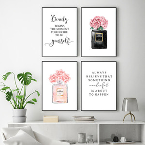 Fashion Wall Art Painting Pink Perfume Poster Makeup Canvas Print Quotes Posters And Prints Wall Pictures For Living Room Decor