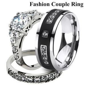 His & Her Stainless Steel 2.50 Ct Cz Bridal Set & Men's Titanium Wedding Band 403