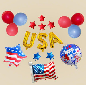 American independence Day Balloons Set United States 74 Digital Balloon Decoration Aluminum Balloons Designer Anniversary Decoration