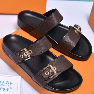 Hot Sale-Sandale Luxus bom bom dia FLAT MULE Designer Lady Herren Bunte Leinwand Brief Anatomische Leder Schlitten 7 Stil Modell H02