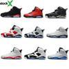 Hot 6 men women Jordon basketball shoes black cat Hare Carmine White Infrared Angry bull sport blue Oreo Olympic Maroon Chrome sports