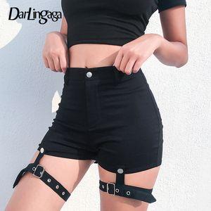 Darlingaga Mode schwarz schlank Sommer Shorts Frauen Fitness Punk abnehmbare Band hohe Taille Shorts 2019 Bottom Short Mujer sexy