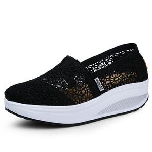 2019 Summer Ladies Plate-forme Chaussures creux dentelle Shallow Chaussures plates Femmes Noir Chaussures de sport Chaussures de marche Swing Respirant Mode