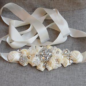 Moda Floral Flores Sashes nupcial Com o Crystal Rhinestone Grey Burgundy Branco Bege Belt casamento laço do estilo na Renda Vestidos de casamento