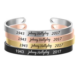 Johnny Hallyday Custom Name Armband Edelstahl-Stulpe-Armband Benutzerdefinierte Typschild für Frauen Männer Schmuck