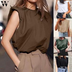 Camiseta para mujer de uola de uola elegante Camiseta suelta sin mangas de alta calle Tops de verano Camiseta de algodón femenino Blanco Blanco Tops coreanos
