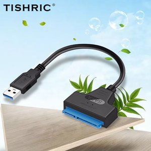 Cabos de computador Conectores TISHRIC USB Adapter SATA 3 a USB 3.0 SATA Cable TYPE-C Converter for 2.5 SSD HDD