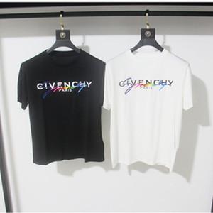 Givenchy 19SS T-shirt Signature Paris l'Europe Broderie Imprimer Lettre Mode Homme T-shirts Casual Hommes Femmes Vêtements Coton T Hauts JD9571