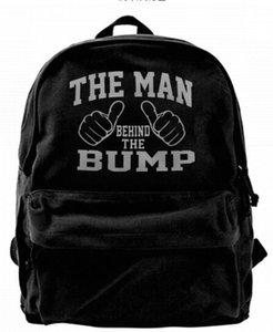 El hombre detrás de The Bump Fashion Canvas mochila de diseño para hombres, mujeres, adolescentes, viajes universitarios, mochila de ocio, bolsa de ocio
