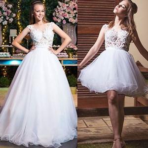 abiti da sposa staccabili 2020 scollo a cuore appliques di pizzo abito da ballo abiti da sposa tulle abiti da noiva