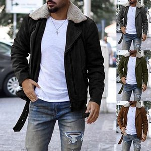 Mens Designer rivestimenti di modo casuale del progettista solido di colore Fleece Jackets risvolto del collo Street Style Mens Outerwear