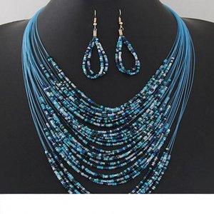 최신 Boho 쥬얼리 세트 수제 다층 밥 비즈 Statement Necklace Dangle Earrings 여성용 세트 Ladies Fashion Jewelry GIft
